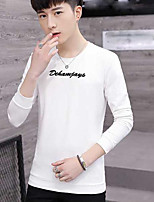 cheap -Men's Daily Going out Sweatshirt Letter Round Neck Micro-elastic Polyester Long Sleeves Winter Fall