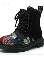 cheap -Girls' Shoes Real Leather Nubuck leather Winter Fall Comfort Combat Boots Boots Walking Shoes Mid-Calf Boots Applique Lace-up For Casual