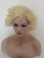 Women Synthetic Wig Capless Short Medium Length Water Wave Light Blonde Highlighted/Balayage Hair With Bangs Party Wig Natural Wigs