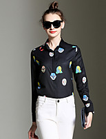 Women's Daily Sophisticated Shirt,Print Shirt Collar Long Sleeves Cotton