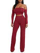 Women's Going out Daily Simple Sexy Summer Fall Set Pant SuitsSolid Strapless Long Sleeve Backless Polyester Micro-elastic