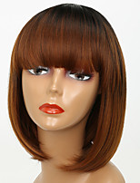 Women Mixed Brown Color Synthetic Wig Capless Medium Length Straight Hair Natural Hairline Party Wig Natural Wigs