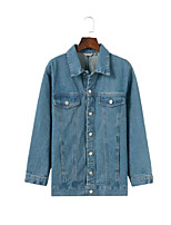 Women's Daily Simple Casual Winter Fall Denim Jacket,Solid Shirt Collar Long Sleeve Regular Cotton Oversized