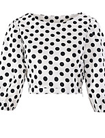 cheap -Women's Daily Going out Cute Active Spring Summer Blouse,Polka Dot Round Neck Half Sleeves Polyester Medium