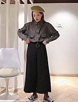 abordables -Mujer Sofisticado Ropa Cotidiana Camisa,Cuello Camisero Un Color Manga Larga Poliéster