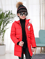 Girls' Solid Down & Cotton Padded Blue Red Blushing Pink