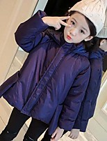 Girls' Solid Down & Cotton Padded,Cotton Rayon Polyester Long Sleeves Casual Navy Blue