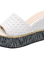 Women's Shoes PU Spring Summer Comfort Slippers & Flip-Flops Open Toe For Casual Khaki Black White