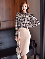 Women's Daily Vintage Sexy Winter Fall Blouse Skirt Suits,Solid Color Block Round Neck Long Sleeves Nylon