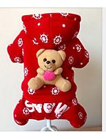 Chien Combinaison-pantalon Vêtements pour Chien Respirable Décontracté / Quotidien Formes Géométriques Rouge Costume Pour les animaux