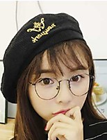 cheap -Women's Corduroy Beret Hat,Cute Casual Embroidered Spring, Fall, Winter, Summer Embroidery Khaki Black