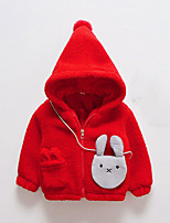 Girls' Solid Jacket & Coat,Polyester Long Sleeves Red Blushing Pink Gray