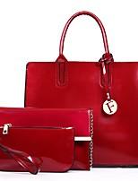 Women Bags All Season PU Bag Set Zipper for Casual Blue Black Red Purple