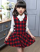 cheap -Girls' Plaid Clothing Set,Rayon Spring Fall Long Sleeve Street chic Green Red