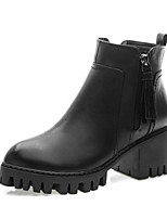 cheap -Women's Shoes Cowhide Fall Winter Comfort Combat Boots Boots For Casual Black