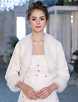 3/4 Length Sleeves Faux Fur Wedding Party/ Evening Women's Wrap With Feather/ Fur Shrugs