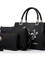 cheap -Women Bags PU Bag Set 3 Pcs Purse Set Embroidery Zipper for Casual Office & Career All Season Gray Blushing Pink Red Black