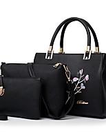 preiswerte -Damen Taschen PU Bag Set 3 Stück Geldbörse Set Stickerei Reißverschluss für Normal Alle Jahreszeiten Schwarz Rote Rosa Grau