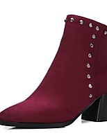 cheap -Women's Shoes Leatherette Winter Fashion Boots Boots Chunky Heel Pointed Toe Booties/Ankle Boots Rivet for Casual Dress Black Red