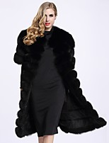 BF-Fur Style Women's Going out Simple Winter Fur Coat,Solid V Neck Long Sleeves Long Faux Fur