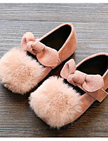 cheap -Girls' Shoes Fleece Winter Fall Comfort Flats Walking Shoes Booties/Ankle Boots Pom-pom Flower For Casual Camel Pink Green Red