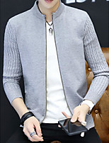 Men's Daily Going out Long Cardigan,Solid Stand Long Sleeves Polyester Winter Fall Medium Micro-elastic