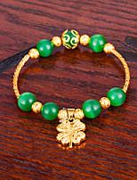 Femme Chaînes & Bracelets Bracelet Onyx Asiatique Cadeau Adorable Mode Plaqué or Forme de Feuille Bijoux Pour Mariage Quotidien