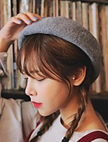 cheap -Women's Wool Beret Hat,Work Casual Solid Spring, Fall, Winter, Summer Stylish Khaki Gray