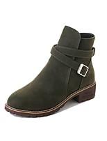 preiswerte -Damen Schuhe Nubukleder Winter Springerstiefel Stiefel Runde Zehe Mittelhohe Stiefel Für Normal Schwarz Grün