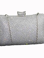 Women Bags Silk Clutch Crystal Detailing for Wedding Event/Party All Season Black Silver