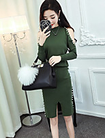 Women's Going out Work Street chic Sophisticated Fall Winter Sweater Skirt Suits,Solid Round Neck Long Sleeves Others Stretchy