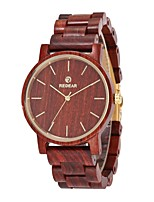 Men's Dress Watch Wood Watch Japanese Quartz Wooden Wood Band Elegant Minimalist Red
