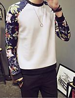 preiswerte -Herren Pullover Ausgehen Lässig/Alltäglich Einfarbig Rundhalsausschnitt Mikro-elastisch Polyester Langarm Winter Herbst