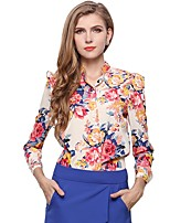 Women's Daily Wear Work Boho Street chic All Seasons Blouse,Floral Stand Long Sleeves Polyester