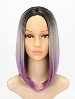 Women Synthetic Wig Capless Medium Length Straight Black/Purple Ombre Hair Natural Hairline Party Wig Cosplay Wig Natural Wigs Costume Wig