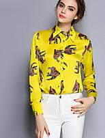 Для женщин На выход На каждый день Рубашка Воротник Питер Пен,Активный Цветочный принт Длинный рукав,Полиэстер