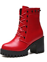 Women's Shoes PU Fall Winter Combat Boots Boots Chunky Heel Round Toe Booties/Ankle Boots For Casual Black Red