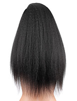 cheap -Women Human Hair Lace Wig Chinese Remy Lace Front Glueless Lace Front 130% Density With Baby Hair Kinky Straight Wig Black Black Medium