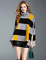 Women's Daily Going out Street chic Winter Cloak/Capes,Striped Regular Acrylic Polyester Nylon