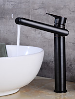 Contemporary Centerset Clawfoot Ceramic Valve Single Handle One Hole Black , Bathroom Sink Faucet