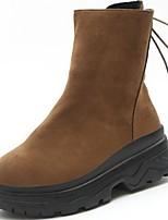 preiswerte -Damen Schuhe Gummi Winter Springerstiefel Stiefel Runde Zehe Für Schwarz Braun