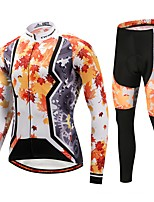 Cycling Jersey with Tights Unisex Long Sleeve Bike Clothing Suits Thermal / Warm Winter Sports Polyester Spandex Fleece Fashion Tree