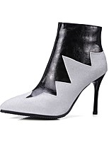 cheap -Women's Shoes PU Fall Winter Comfort Boots Stiletto Heel Pointed Toe For Outdoor Office & Career Wine Black