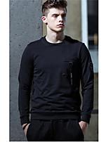 billige -Herrer Afslappet/Hverdag Sweatshirt Ensfarvet Polyester