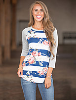 Women's Daily Holiday Street chic T-shirt,Floral Round Neck ¾ Sleeve Polyester