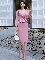 Women's Work Casual Fall Blouse Skirt Suits,Solid V Neck Long Sleeves Ruffle Others