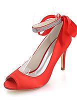 Femme Chaussures Satin Printemps Eté Escarpin Basique Chaussures de mariage Talon Aiguille Bout ouvert Strass Pour Mariage Soirée &