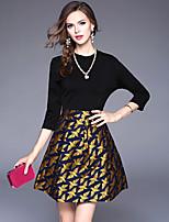 preiswerte -Damen A-Linie Hülle Kleid-Ausgehen Lässig/Alltäglich Einfach Street Schick Jacquard Rundhalsausschnitt Übers Knie Halbarm Polyester Herbst
