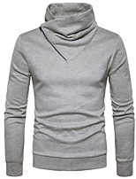Men's Daily Regular Pullover,Solid Turtleneck Long Sleeves Others Winter Fall Medium strenchy