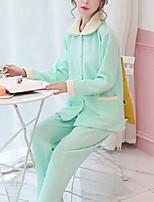 Costumes Pyjamas Femme,Couleur unie Coton Polyester Vert Claire Bleu clair
